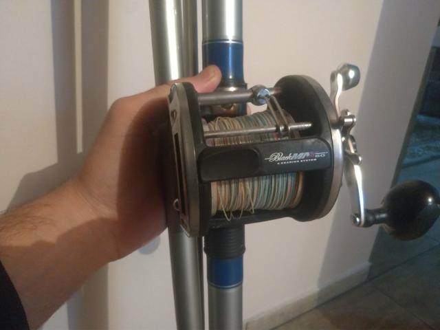Carretilha pesca pesada + vara de pesca 4,57m