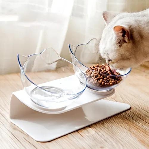 Comedouro elevado gatos comida branco transparente
