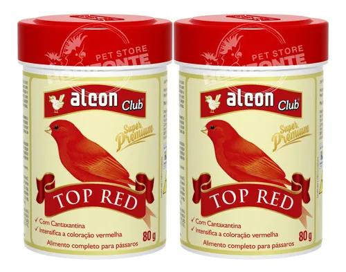 Kit 2 alcon club top red 80g alimento cantaxantina pássaros