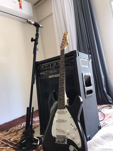 Kit completo caixa mais guitarra microfone mais pedestal