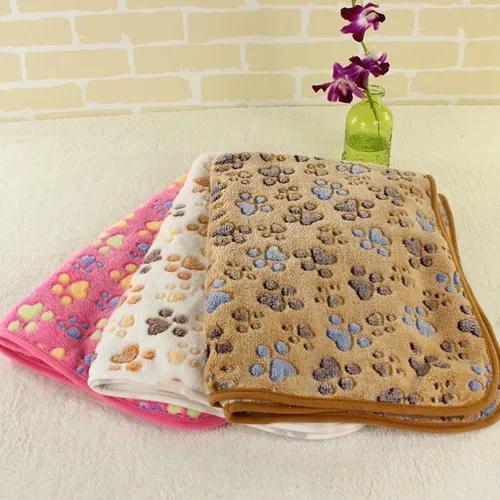 Pet cobertor cão gato coral velo pata impressão