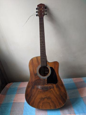 Violão hofma folk elétrico cordas aço