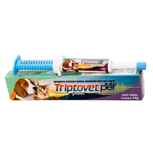 Vitamina triptovetpet alivet antiestresse cães/gatos - 14g