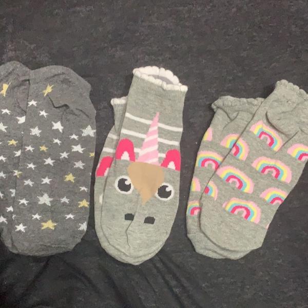 Kit 3 meias femininas soquete unicórnio arco-íris estrelas