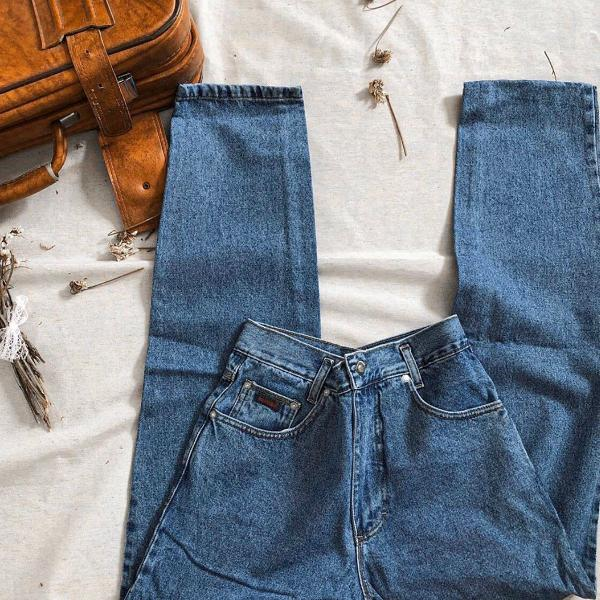 Mom jeans vintage retro cintura alta veste 38