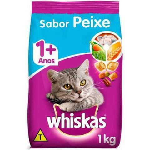 Ração whiskas para gatos adultos sabor peixe 3 unidades de