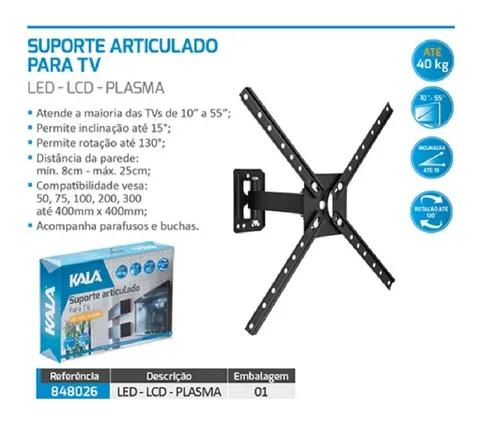 Suporte tv lcd led plasma articulado 10'' a 55'' c/ nota