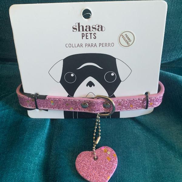 Coleira rosa brilhante glitter cachorro e gato