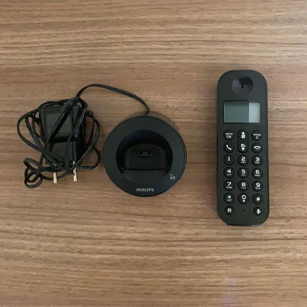 Telefone sem fio philips d1201b/br com identificador de