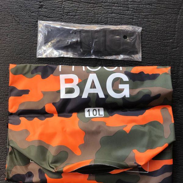 10l bolsa impermeável orange camuflada
