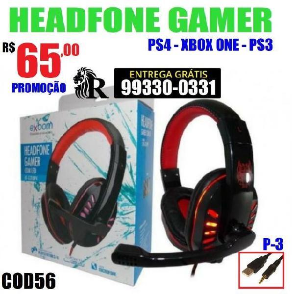 Fone headset gamer ps3 ps4 xbox one e pc (entrega grátis)