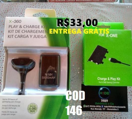 Kit carregador+ bateria xbox (entrega grátis)