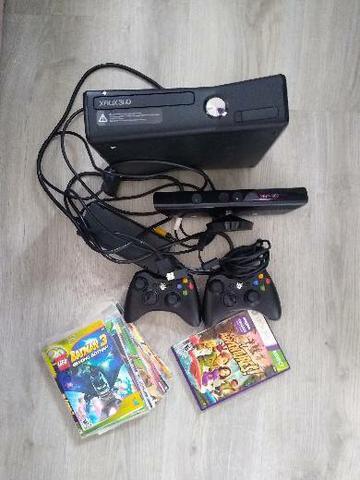 Xbox destravado + kinect + 2 controles + vários jogos