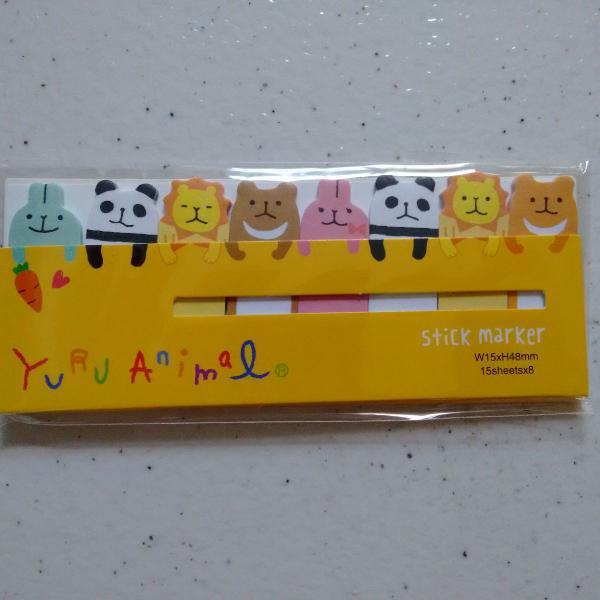 Bloquinho de marcador de páginas animal amarelo