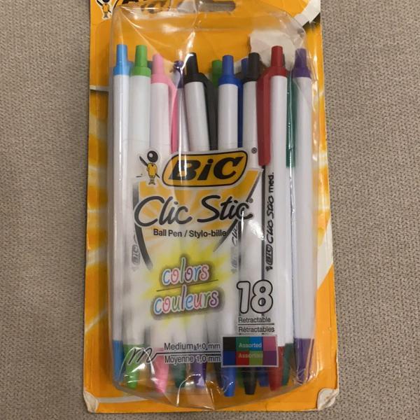 Kit com 14 canetas coloridas bic clic stic