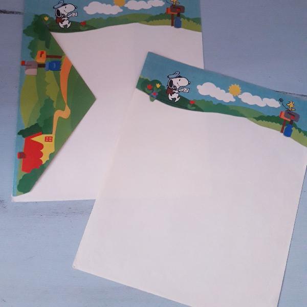 Lote com 2 papéis de carta vintages do snoopy