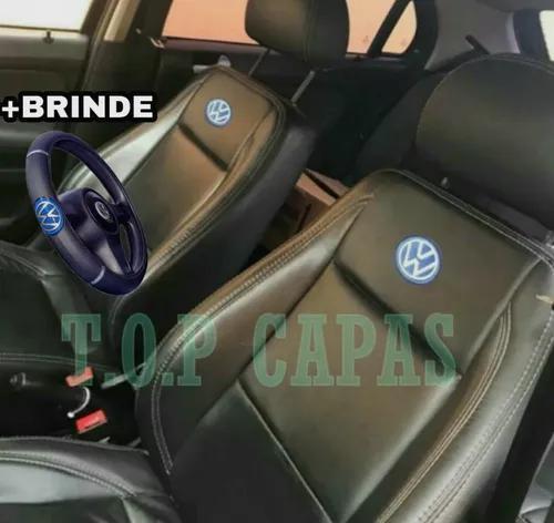 Capa banco carro 100% couro vw saveiro 1990 a 2019 + brindes