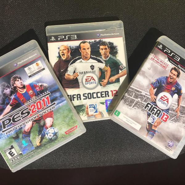3 jogos ps3 - pes 2011 , fifa 12 e 13
