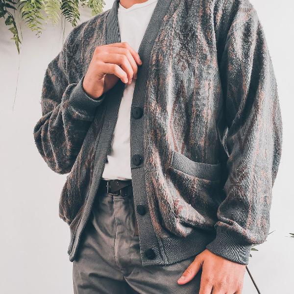 Cardigã de lã cinza vintage