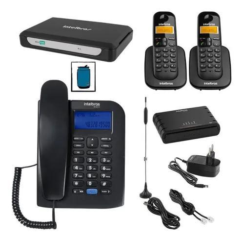 Kit central telefonica com 2 linhas 3 ramais entrada chip 3g