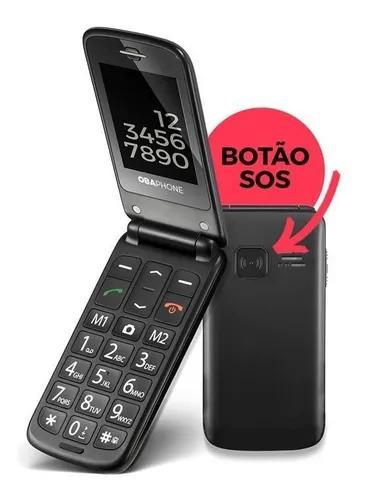 Obaphone flip celular para idosos obabox
