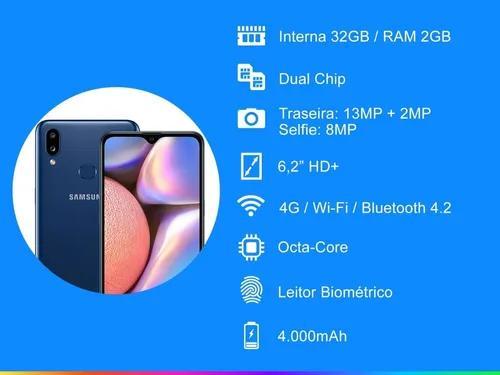 Smartphone galaxy a10s azul 32gb tela 6,2 câmera 13mp + 2mp
