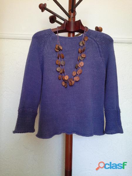 Blusa de tricot roxo violeta 1