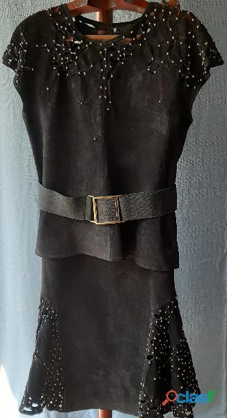 Conjunto em genuíno couro antílope, na cor preta
