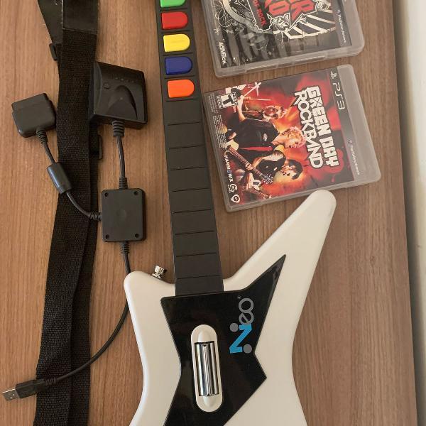 Guitarra sem fio para playstation 3 + 2 jogos originais