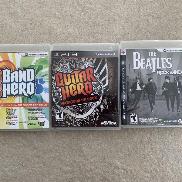 Kit jogos ps3 - band hero pop e the beatles e guitar hero