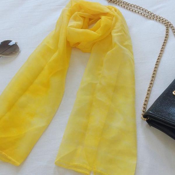 lenço xale cachecol enxarpe amarelo