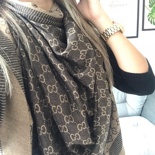 Pashmina lenço dupla face gucci