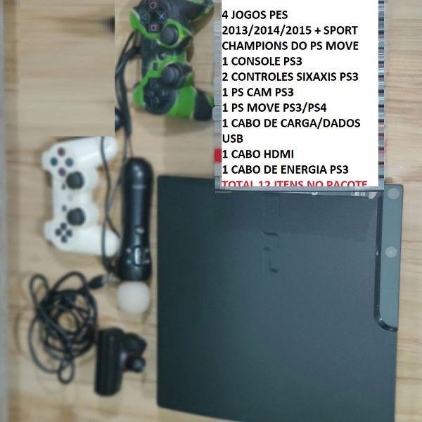 Playstation 3 slim c/ 2 controles - ps move + ps cam + 5