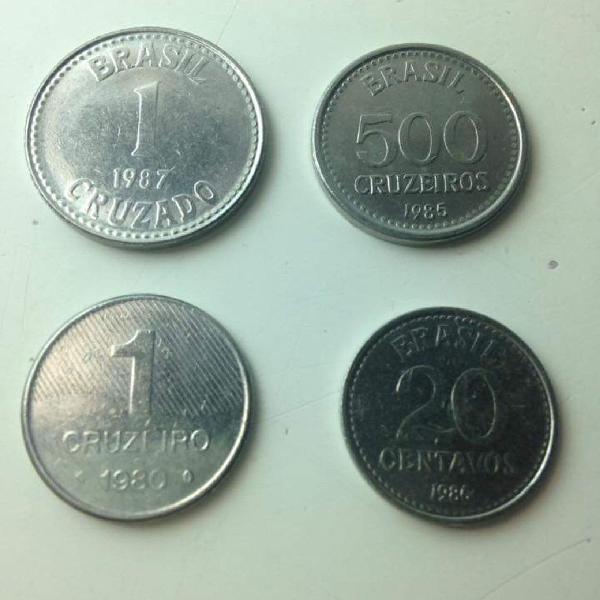 Lote 4 moedas cruzeiro cruzado as 4 por r$29