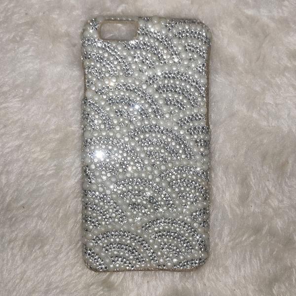 Capinha/case de iphone 6 com brilho e pérolas