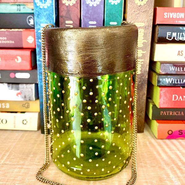 Lanterna marroquina verde folha