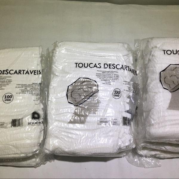 Touca e lençol descartável, 9 pacotes de cada