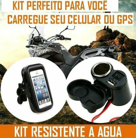 Suporte + carregador kit impermeável celular moto, loja no