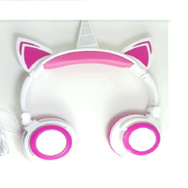 Fone unicornio rosa com led