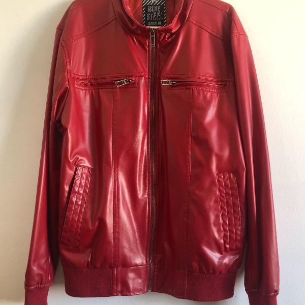 Jaqueta couro vermelha