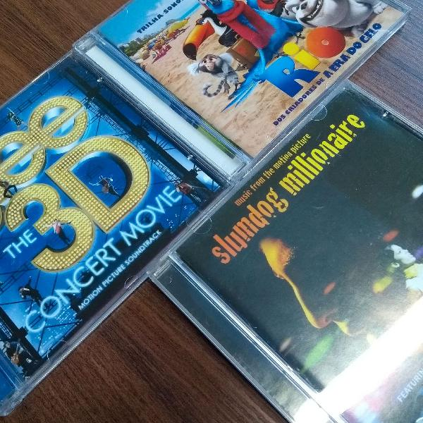 Kit cds trilhas sonoras ( glee 3d + rio + quem quer ser um
