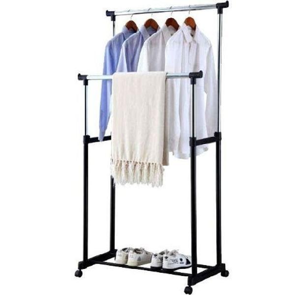 Arara dupla de roupas com altura regulável, sapateira e