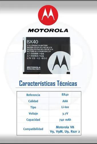 Bateria original motorola bx40 v8 v9 v9m u9 zn5 i9 nextel