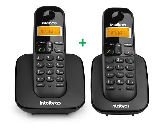 Combo kit 2 telefones ts 3110 base + ramal preto intelbras