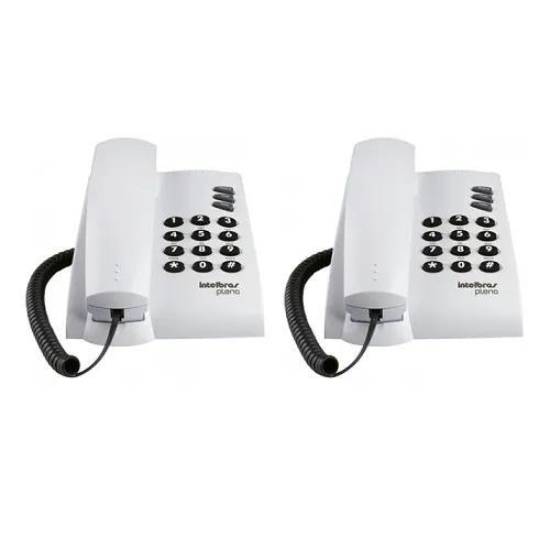 Kit 2 telefones c/ fio mesa ou parede pleno branco intelbras