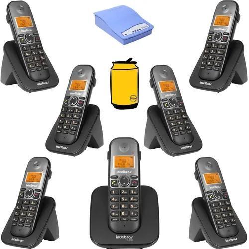 Kit aparelho telefone fixo bina com 6 ramal e entrada chip