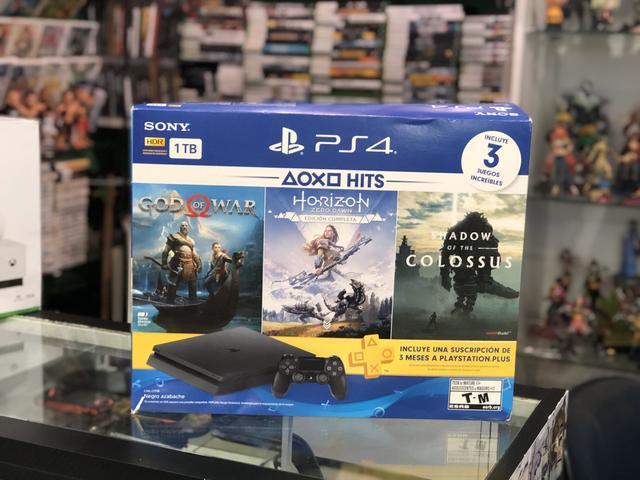 Playstation 4 slim 1tb com 3 jogos (carlão games/bangu)