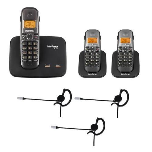 Telefone 2 linhas ts 5150 + 2 ramais + 3 fones intelbras