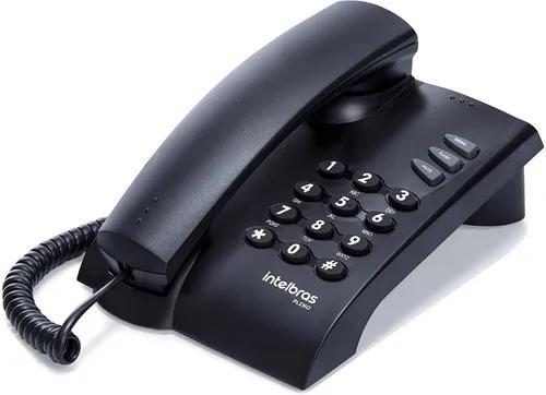 Telefone de mesa c/ fio, modelo pleno, preto, intelbras