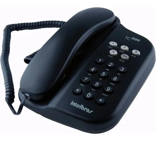 Telefone fixo com fio intelbras tc 500 preto chave bloqueio
